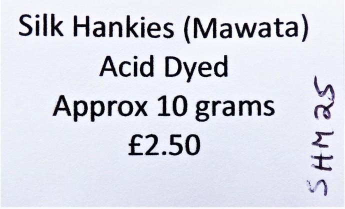 Hand Acid Dyed Silk Hankies - Mawata – approximately 10 grams 100% Silk  SHM25