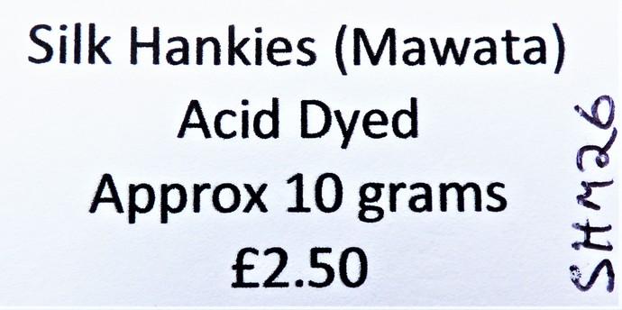 Hand Acid Dyed Silk Hankies - Mawata – approximately 10 grams 100% Silk  SHM26