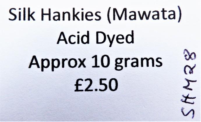 Hand Acid Dyed Silk Hankies - Mawata – approximately 10 grams 100% Silk  SHM28