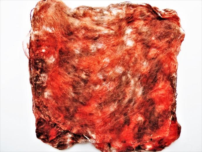Hand Acid Dyed Silk Hankies - Mawata – approximately 10 grams 100% Silk  SHM29