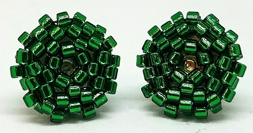 Beaded Circle Stud Earrings - Christmas Green