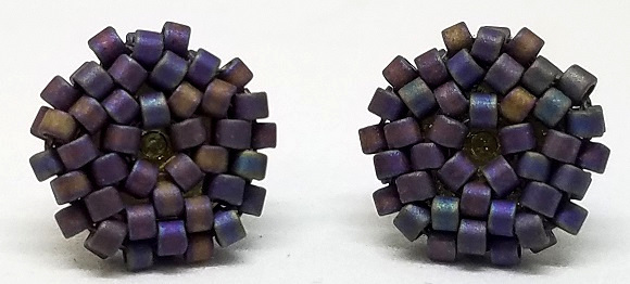 Beaded Circle Stud Earrings - Matte Metallic Purple