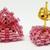 Beaded Triangle Stud Earrings - Watermelon Pink