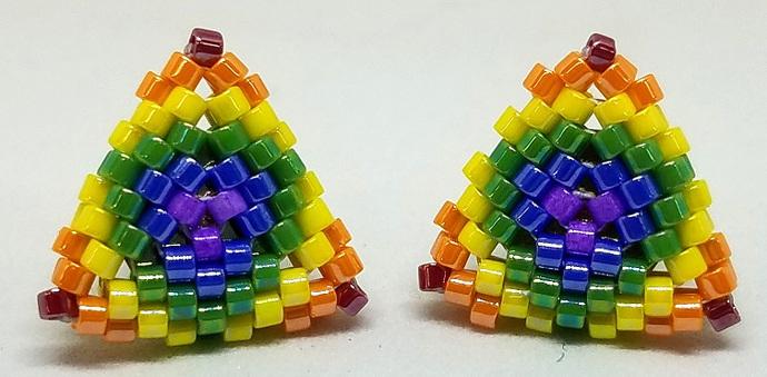 Beaded Triangle Stud Earrings - Over-sized Rainbow