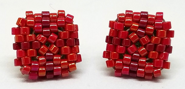 Beaded Square Stud Earrings - Red