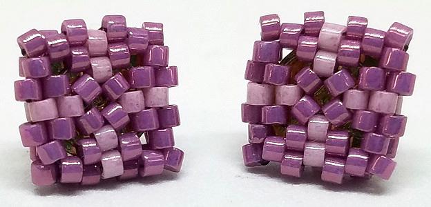 Beaded Square Stud Earrings - Dusty Purple