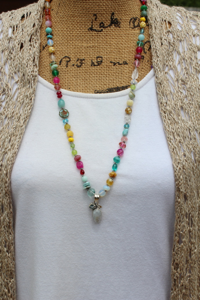 Moonbeams Long Hand Knot Beaded Necklace with Pendant Natural Stone Jewelry by