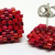 Beaded Square Stud Earrings - Red with silver posts