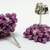 Beaded Square Stud Earrings - Dusty Purple with silver posts