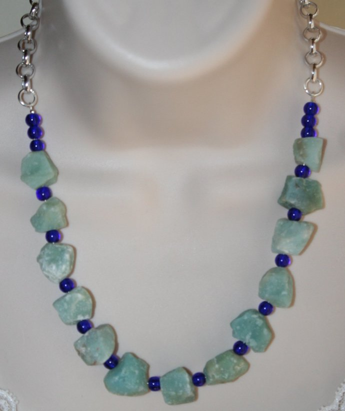 Rough Amazonite Nugget Statement Necklace, Cobalt Blue Beads with Raw Natural