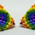 Beaded Triangle Stud Earrings - Over-sized Rainbow with silver posts