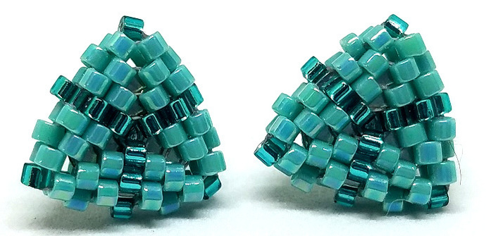 Beaded Triangle Stud Earrings -  Teal with silver posts