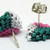 Beaded Triangle Stud Earrings -  Teal, Pink and White with silver posts