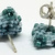 Beaded Triangle Stud Earrings -  Light teal with silver posts