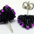 Beaded Triangle Stud Earrings -  Black and Purple with silver posts