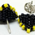 Beaded Triangle Stud Earrings -  Black and Yellow with silver posts
