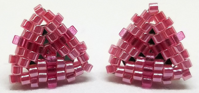 Beaded Triangle Stud Earrings -  Watermelon Pink with silver posts