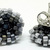 Beaded Circle Stud Earrings -  Black to Grey with silver posts