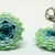 Beaded Circle Stud Earrings - Teal to Light Green with silver posts