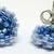Beaded Circle Stud Earrings - Tricolor Blues with silver posts