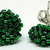 Beaded Circle Stud Earrings - Christmas Green with silver posts