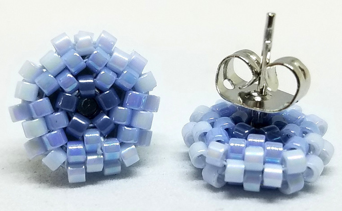 Beaded Circle Stud Earrings - Light Blue with silver posts