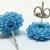 Beaded Circle Stud Earrings - Sky Blue with silver posts