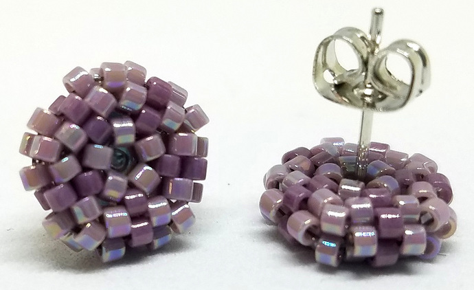 Beaded Circle Stud Earrings - Dusty Purple with silver posts