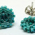 Beaded Circle Stud Earrings - Teal with silver posts
