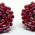 Beaded Circle Stud Earrings - Dark Red with silver posts