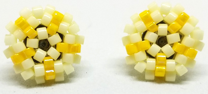 Beaded Circle Stud Earrings - Light Yellow with silver posts