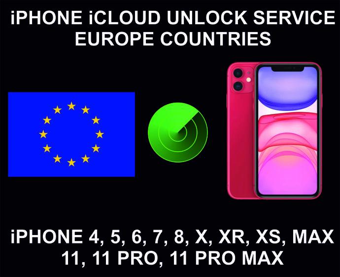 iCloud Unlock Service, Clean Status, Europe, iPhone 4, 5, 6, 7, 8, X, XR, XS,
