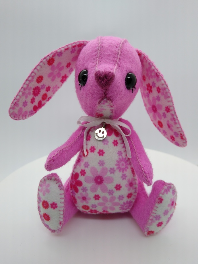 Hand Sewn Felt Puppy- pink and white