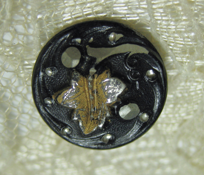Small Bright Cut Pewter Grape Leaf Antique Button Tint #6