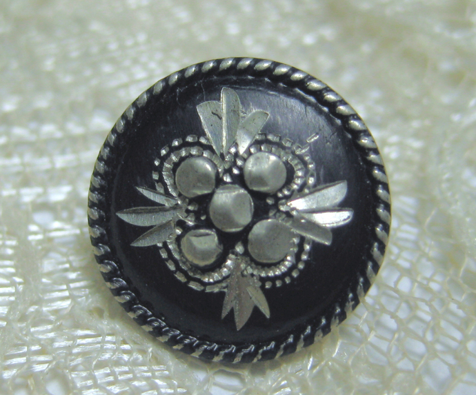 Bright Cut Pewter Button with Blueish Black Tint  #11