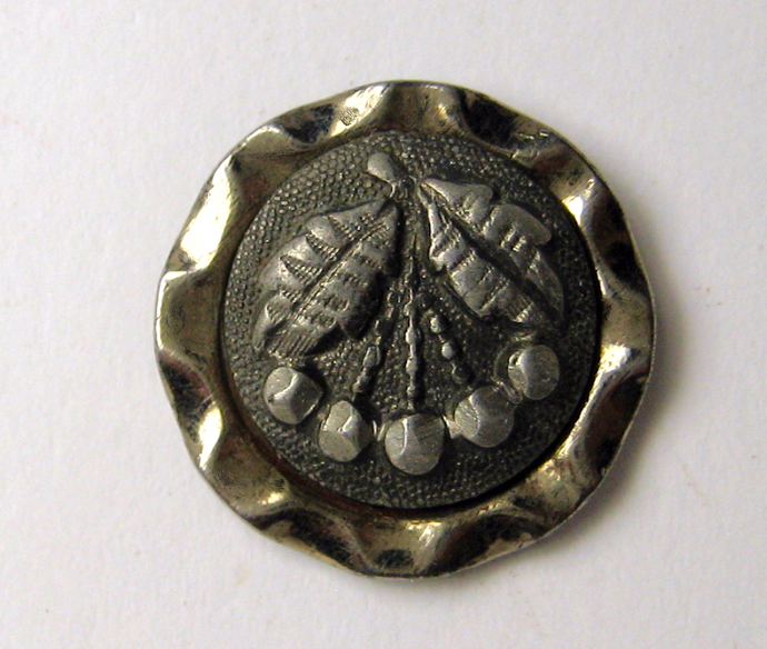 Small Steel Cup Button with Pewter Cherries Escutcheon