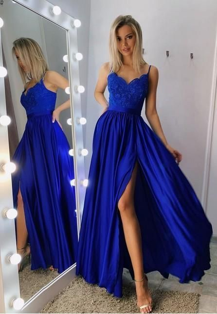 Sexy Royal Blue Prom Dress with Slit, Evening Dress  M 182