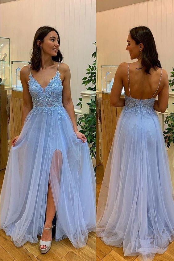 Sexy Straps Light Blue A Line Prom Dress M 185