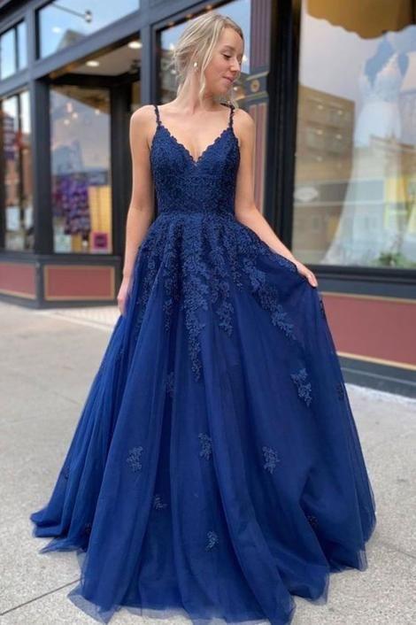New Style Prom Dress A-line V Neck Lace Graduation Dress M 187