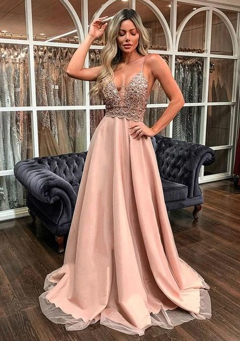 A Line Long Prom Dresses with lace Evening Dress M 188