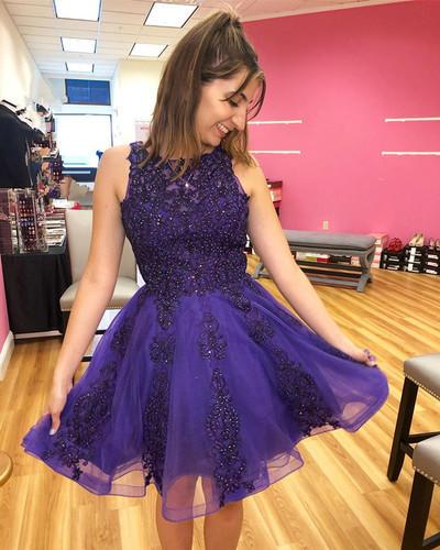 Elegant O-Neck Appliques A-Line Dresses,Short Prom Dresses M 201