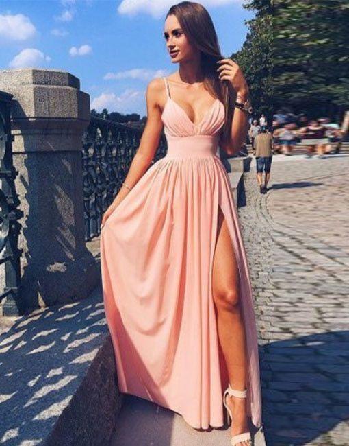 Pink Spaghetti Strap V Neck Prom Dress,Simple Long Evening Dress M 203
