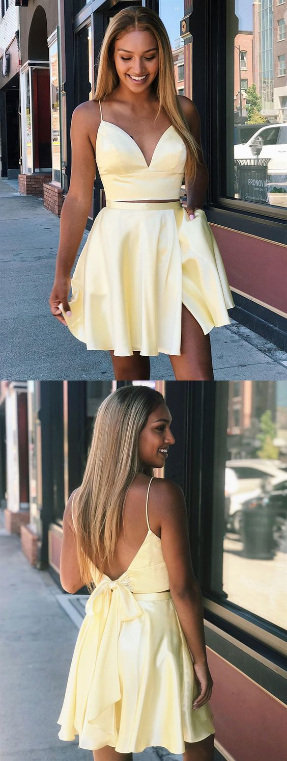 A Line V Neck Short Yellow Prom Dresses, 2 Pieces Short Yellow M 206