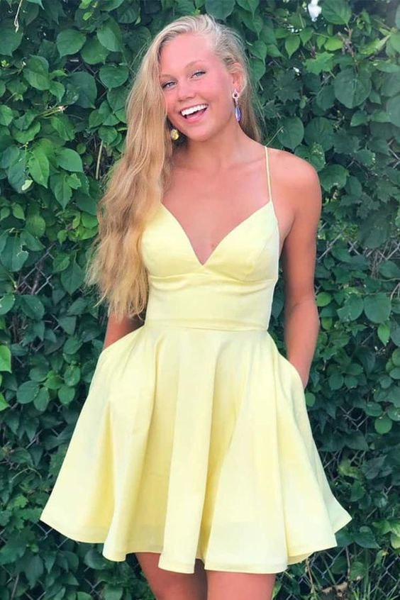 A-line Satin Fit and Flare Yellow Homecoming Dress with Pockets M 207