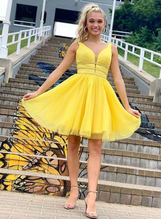 Cute Homecoming Dress,Yellow Homecoming Dress,  M 208