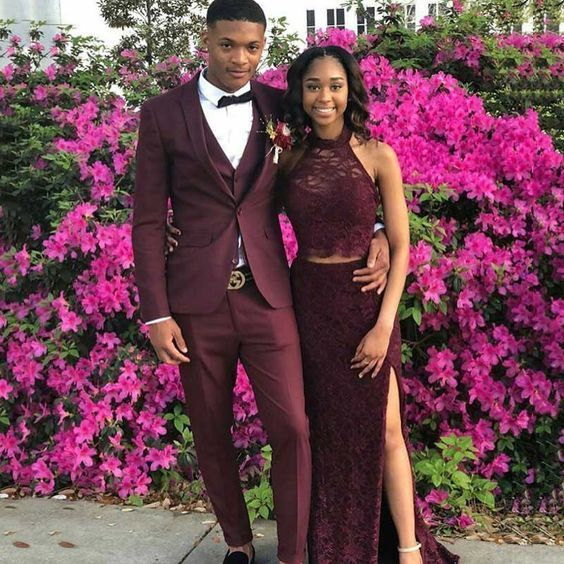 Two Piece Burgundy Long Prom Dress With Lace M 211