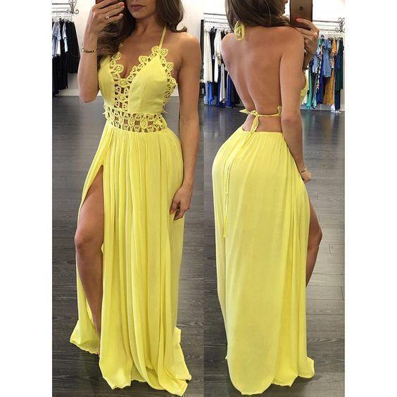 Yellow prom dress , open back prom dress ,long prom dress M 215