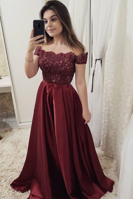 Chic Burgundy Off Shoulder Floor Length Satin Lace Prom Dresses  M 217