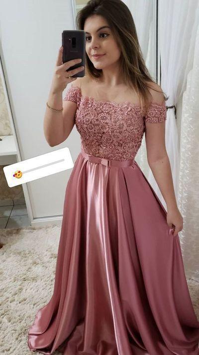 Pink Prom Dress,A-Line Evening Dresses,Satin Prom Dresses,Off the Shoulder Prom
