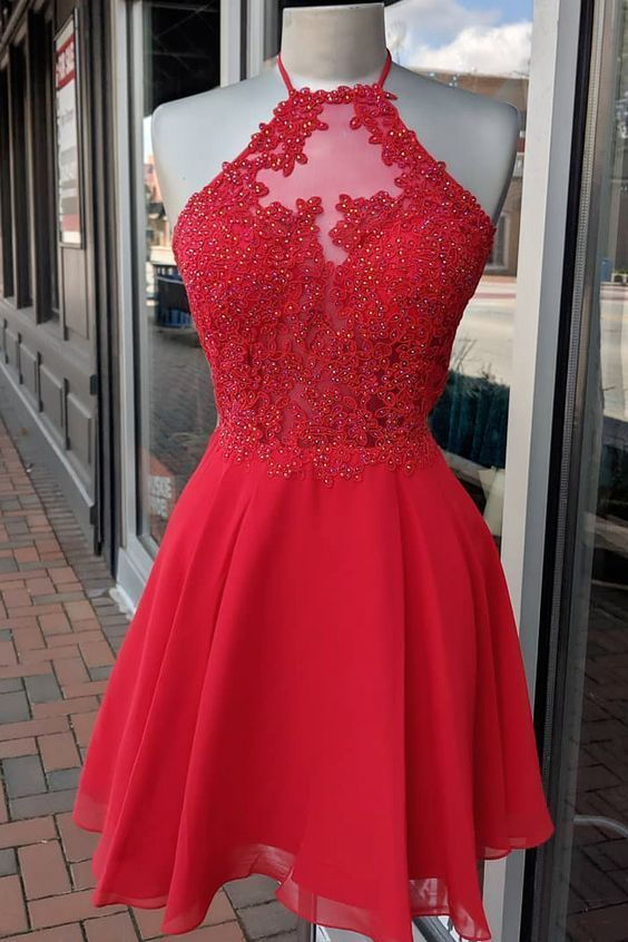 Halter A-Line Red Short Homecoming Dress M 220